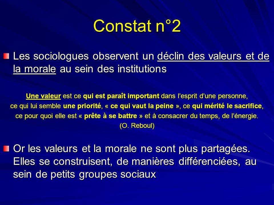 Constat n°2 Les sociologues observent un déclin des valeurs et de la morale au sein des institutions.