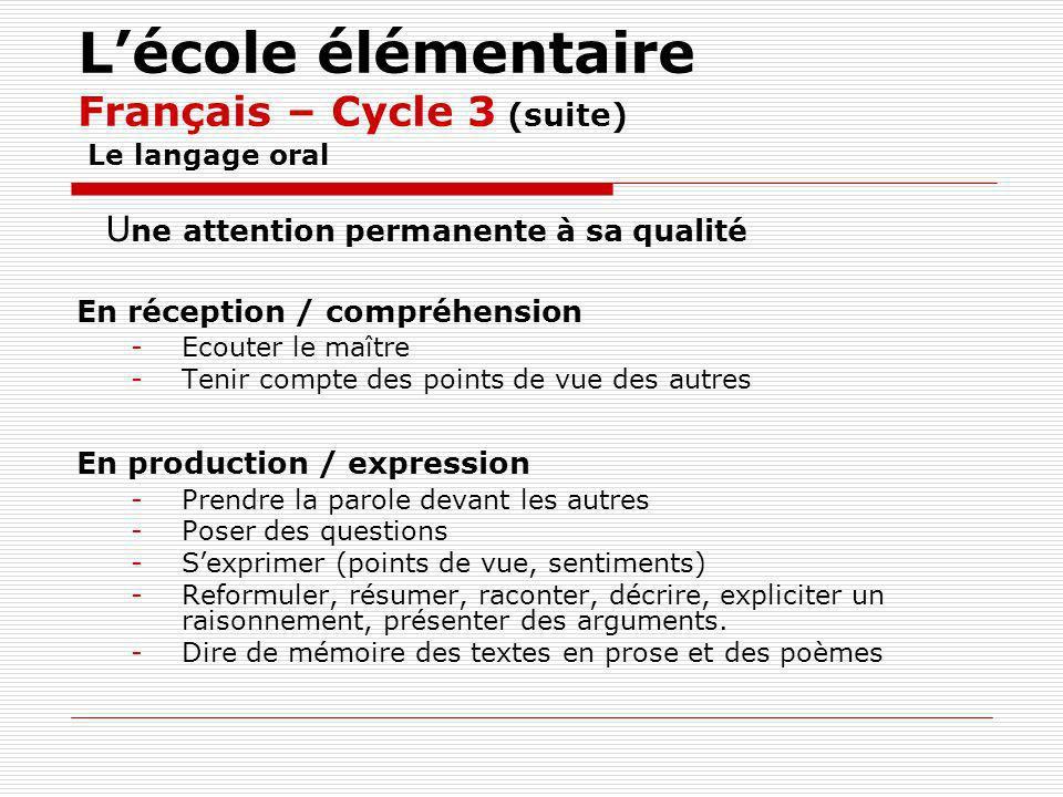 L'école élémentaire Français – Cycle 3 (suite) Le langage oral