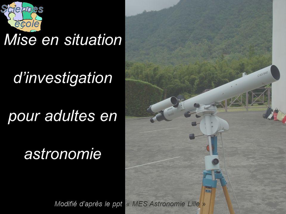 Mise en situation d'investigation pour adultes en astronomie