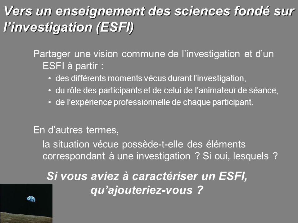 Vers un enseignement des sciences fondé sur l'investigation (ESFI)