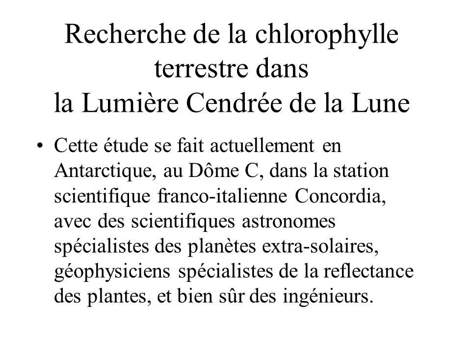 Recherche de la chlorophylle terrestre dans la Lumière Cendrée de la Lune