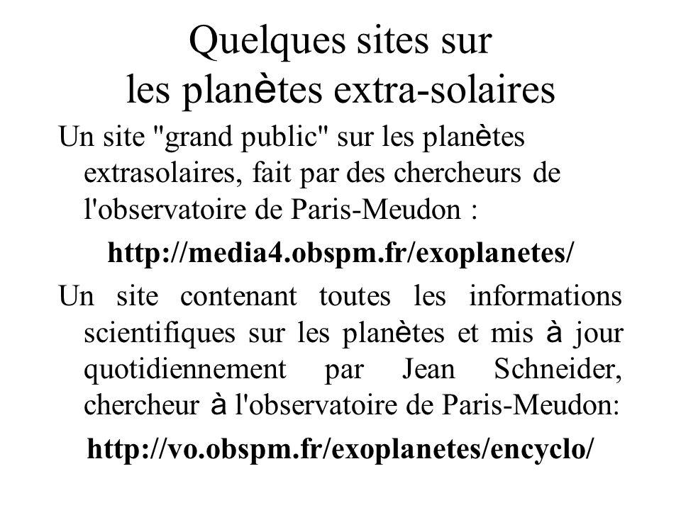 Quelques sites sur les planètes extra-solaires
