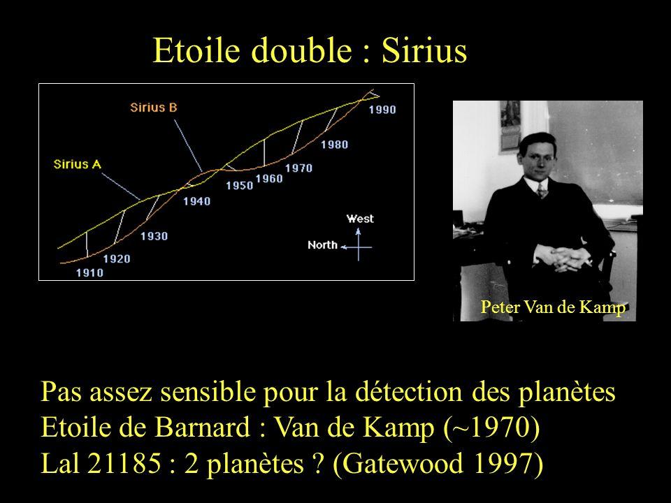 Etoile double : Sirius Peter Van de Kamp. Pas assez sensible pour la détection des planètes. Etoile de Barnard : Van de Kamp (~1970)