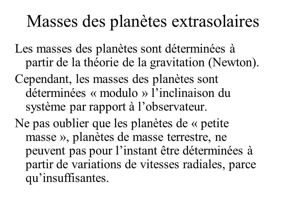 Masses des planètes extrasolaires