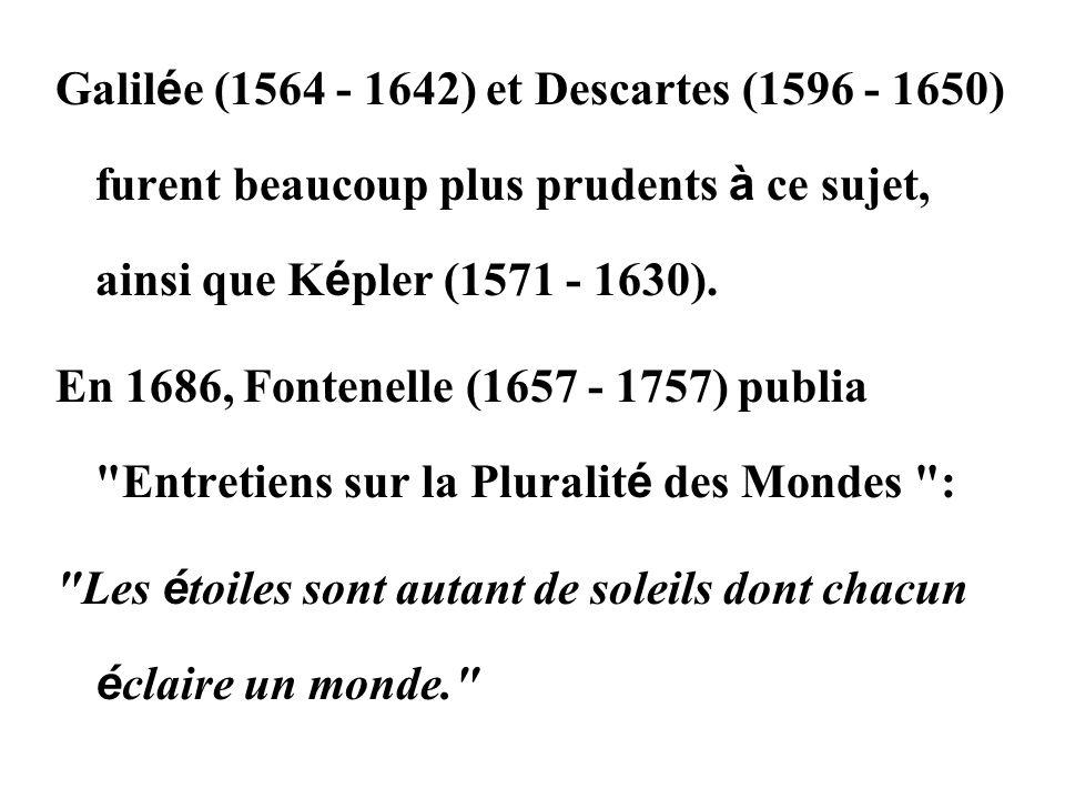 Galilée (1564 - 1642) et Descartes (1596 - 1650) furent beaucoup plus prudents à ce sujet, ainsi que Képler (1571 - 1630).
