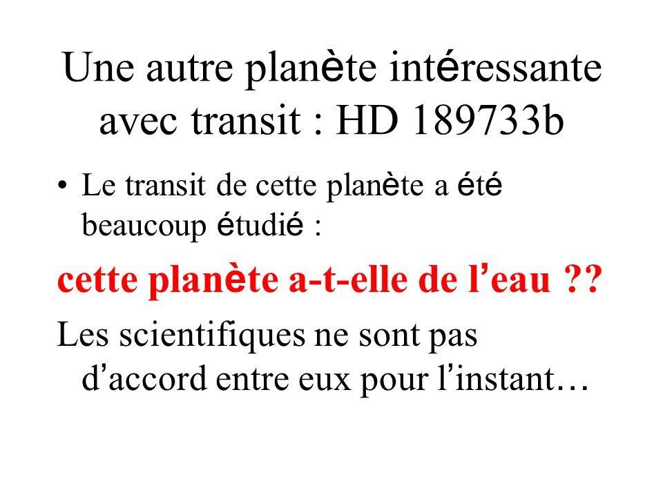 Une autre planète intéressante avec transit : HD 189733b