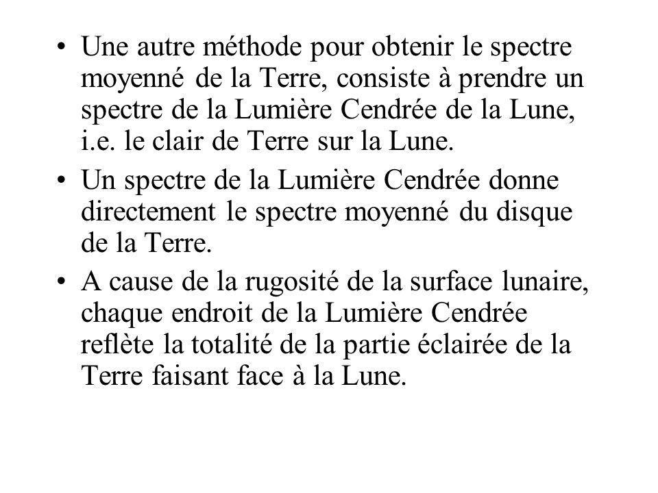 Une autre méthode pour obtenir le spectre moyenné de la Terre, consiste à prendre un spectre de la Lumière Cendrée de la Lune, i.e. le clair de Terre sur la Lune.