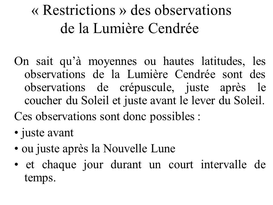 « Restrictions » des observations de la Lumière Cendrée
