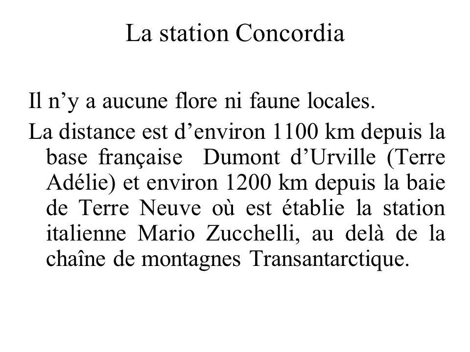La station Concordia Il n'y a aucune flore ni faune locales.
