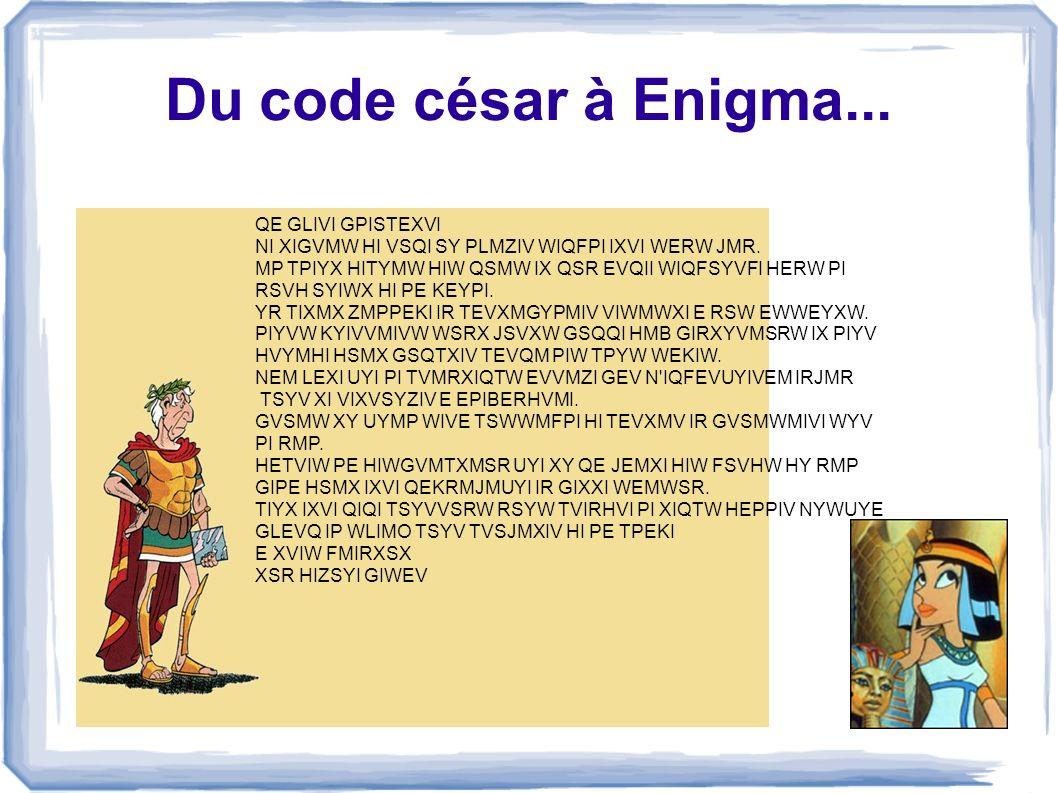 Du code césar à Enigma... QE GLIVI GPISTEXVI
