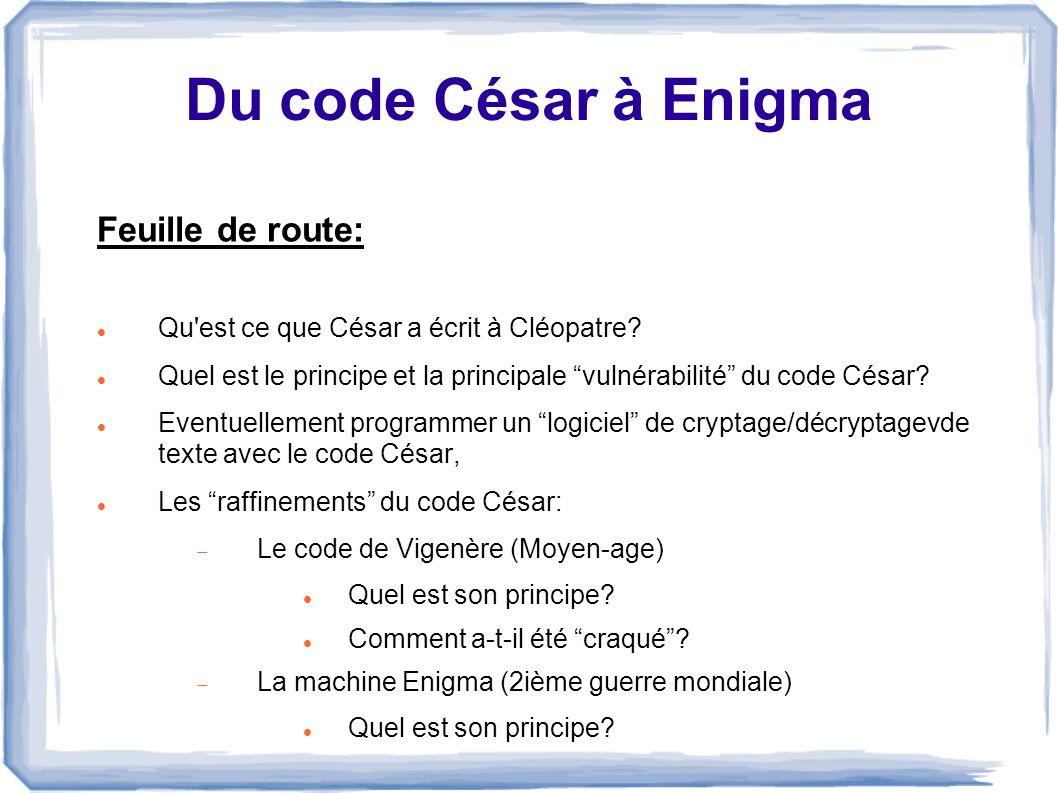 Du code César à Enigma Feuille de route: