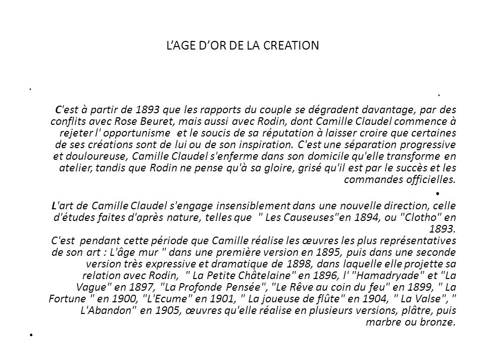 L'AGE D'OR DE LA CREATION