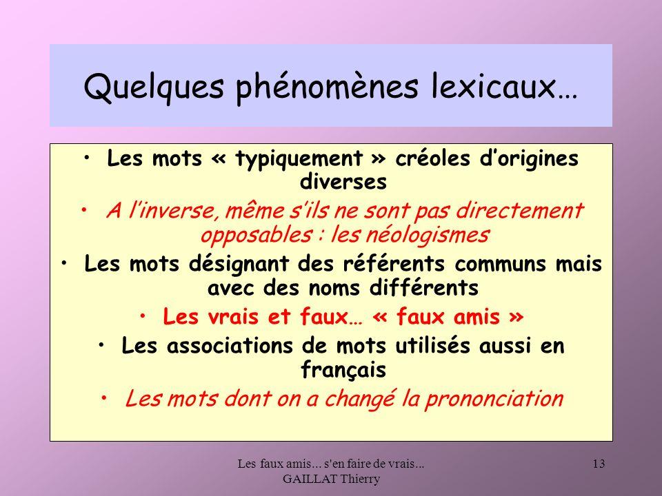 Quelques phénomènes lexicaux…