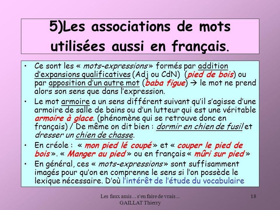5)Les associations de mots utilisées aussi en français.