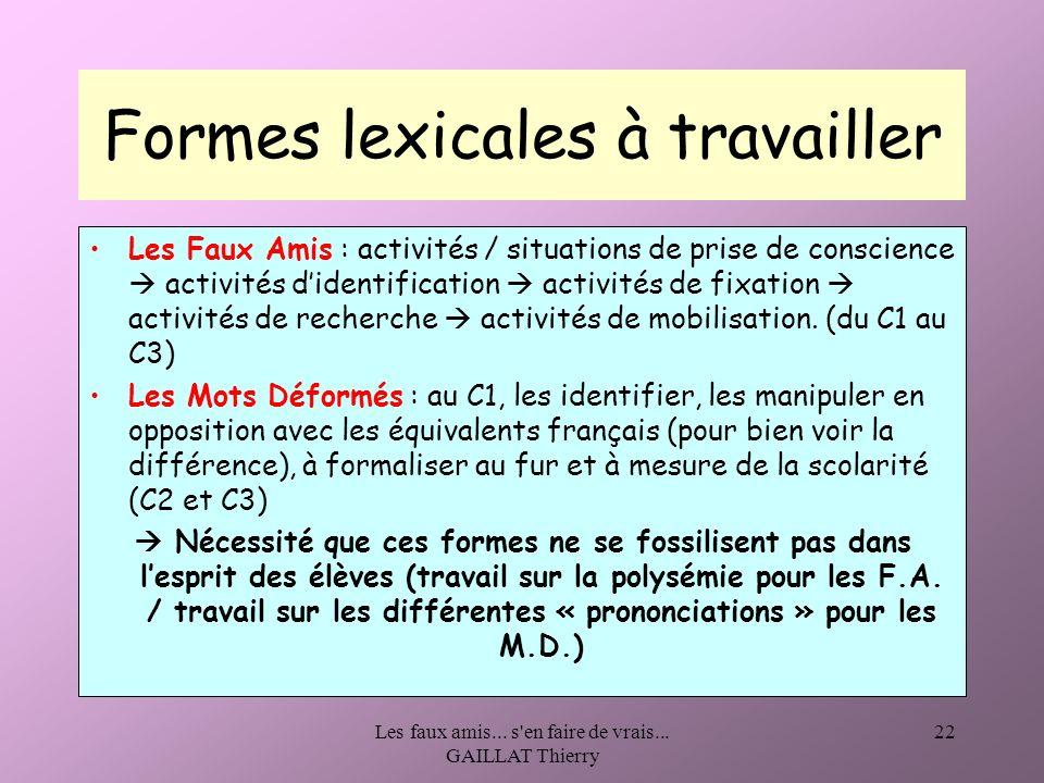 Formes lexicales à travailler