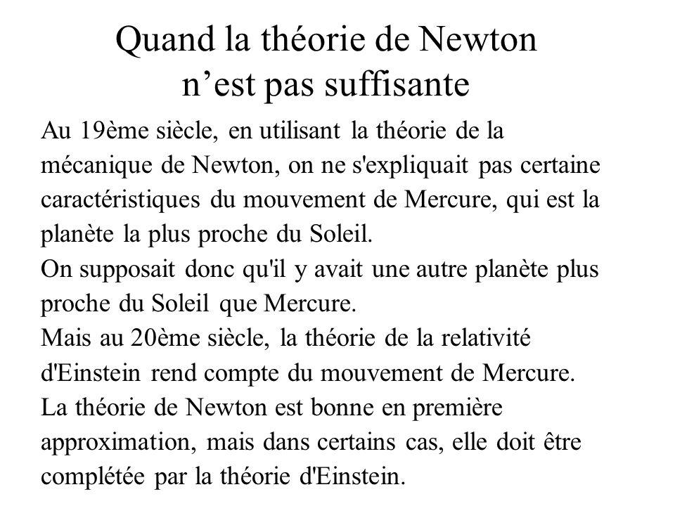Quand la théorie de Newton n'est pas suffisante