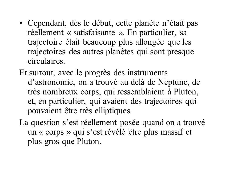 Cependant, dès le début, cette planète n'était pas réellement « satisfaisante ». En particulier, sa trajectoire était beaucoup plus allongée que les trajectoires des autres planètes qui sont presque circulaires.