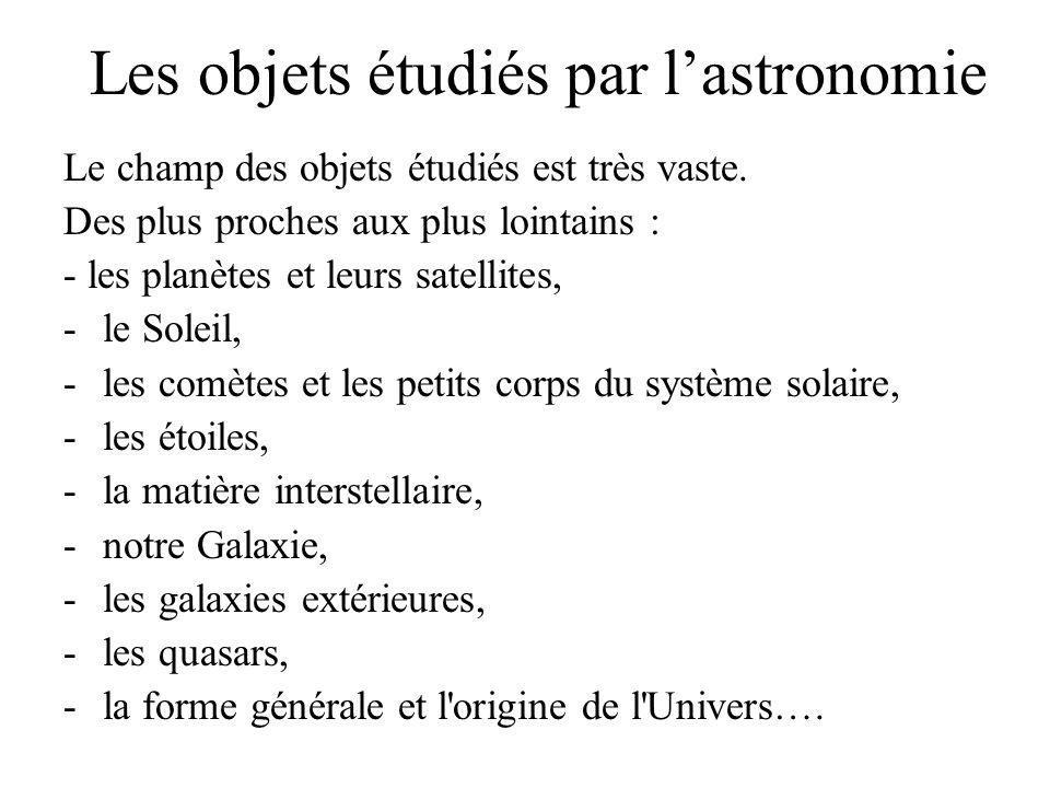 Les objets étudiés par l'astronomie