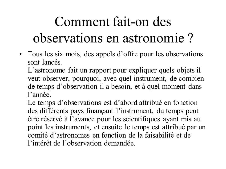 Comment fait-on des observations en astronomie