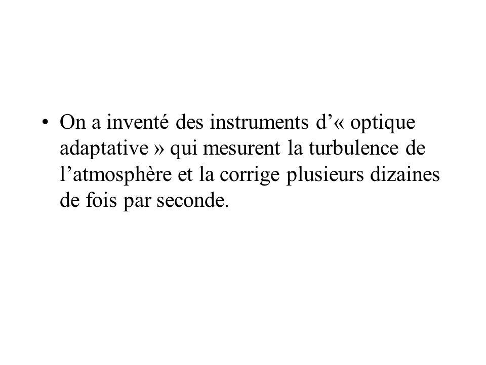 On a inventé des instruments d'« optique adaptative » qui mesurent la turbulence de l'atmosphère et la corrige plusieurs dizaines de fois par seconde.