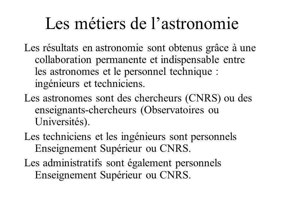 Les métiers de l'astronomie