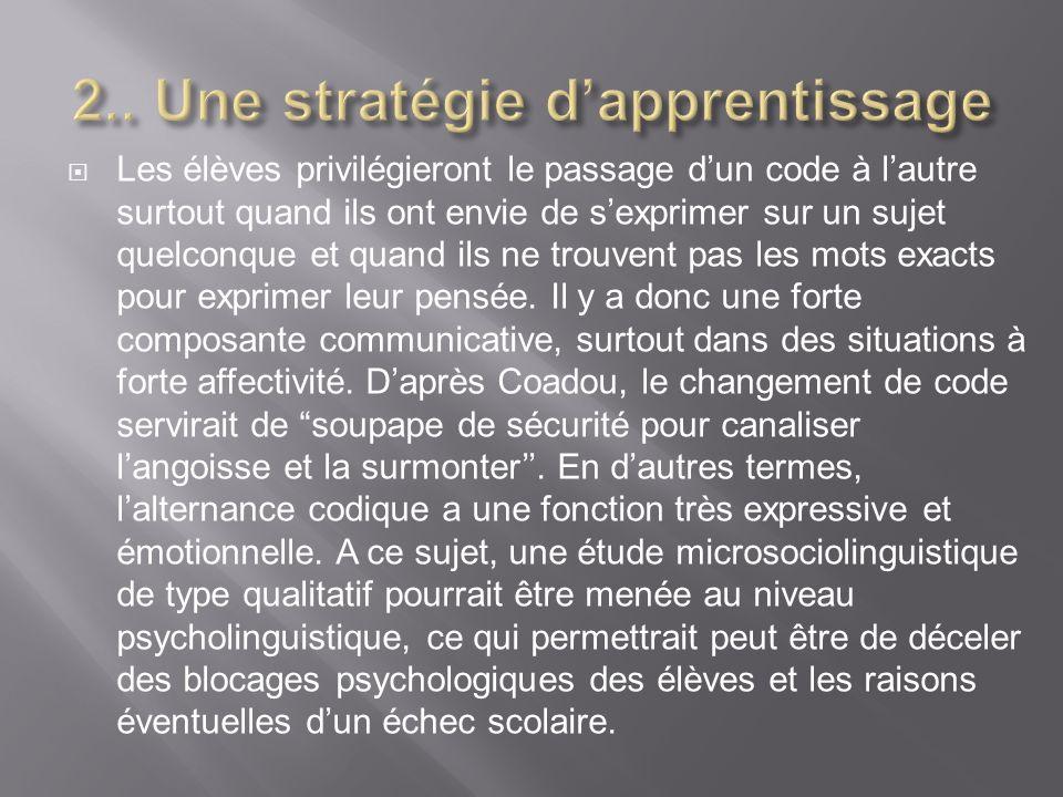2.. Une stratégie d'apprentissage
