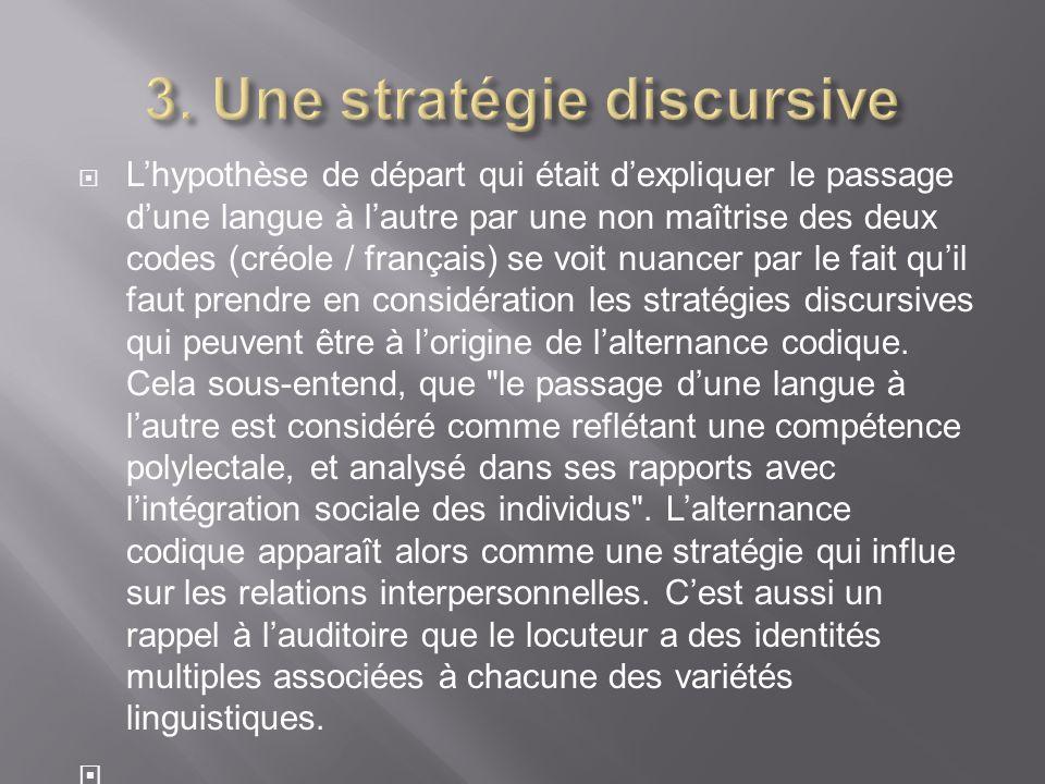 3. Une stratégie discursive