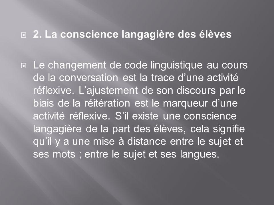 2. La conscience langagière des élèves