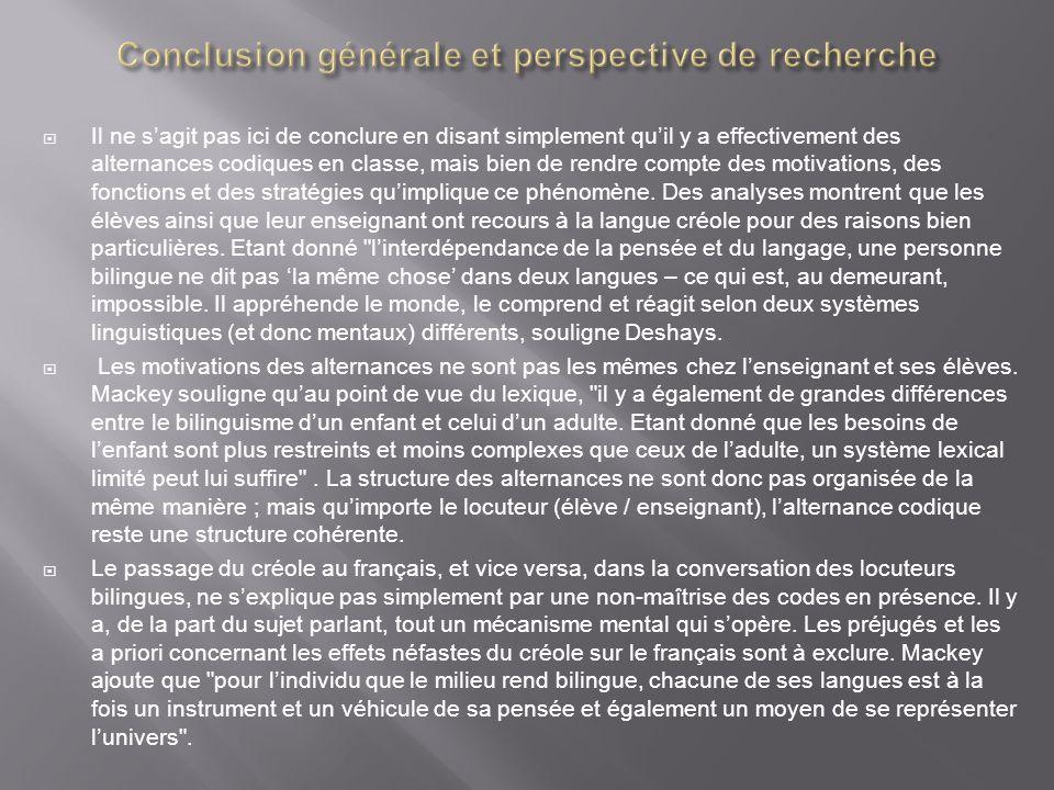 Conclusion générale et perspective de recherche