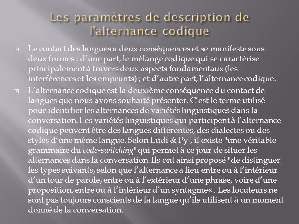 Les paramètres de description de l'alternance codique