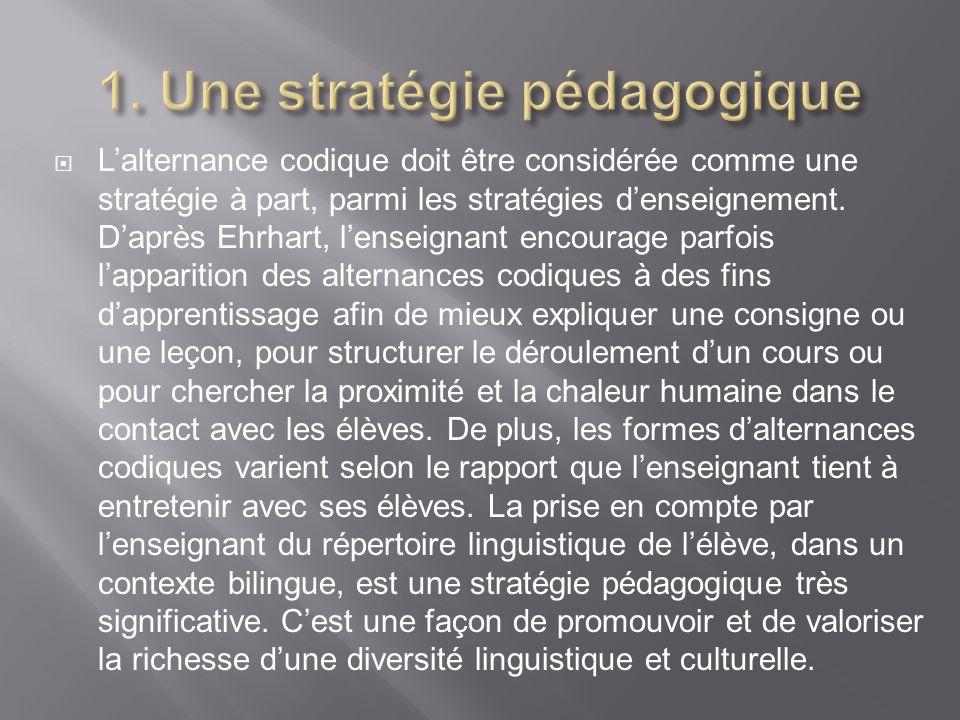 1. Une stratégie pédagogique