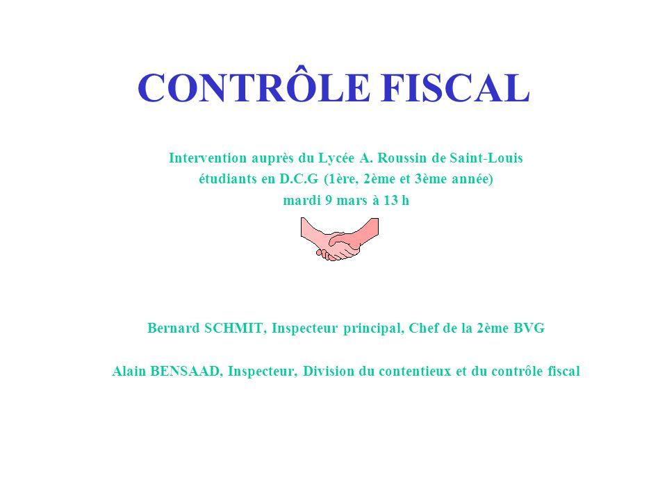 CONTRÔLE FISCAL Intervention auprès du Lycée A. Roussin de Saint-Louis