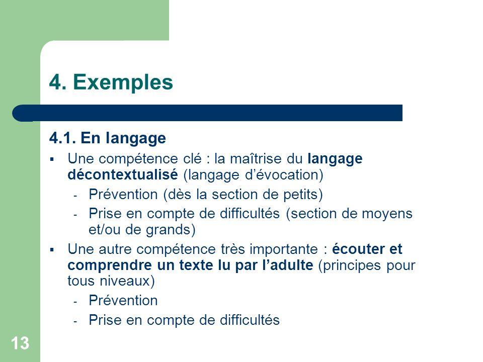 4. Exemples 4.1. En langage. Une compétence clé : la maîtrise du langage décontextualisé (langage d'évocation)