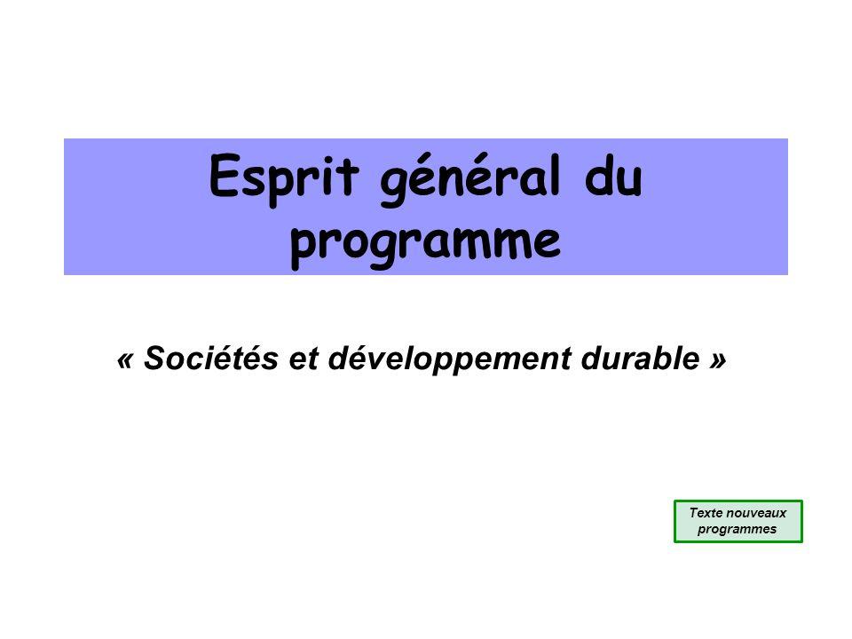 Esprit général du programme