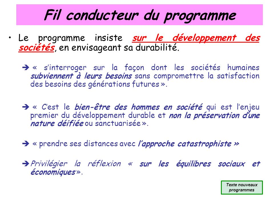 Fil conducteur du programme