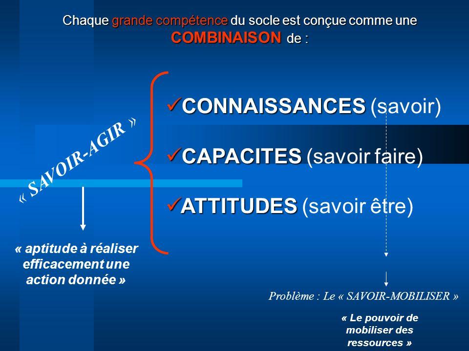 CONNAISSANCES (savoir) CAPACITES (savoir faire)
