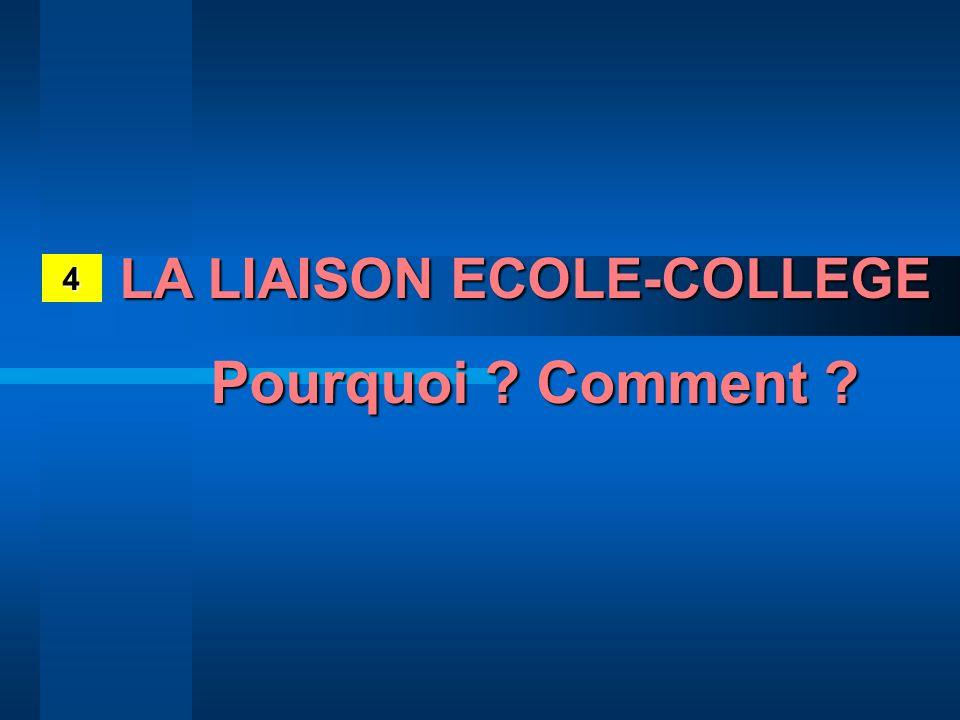 LA LIAISON ECOLE-COLLEGE