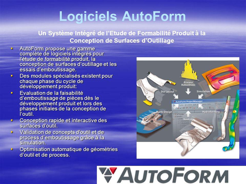 Logiciels AutoForm Un Système Intégré de l'Etude de Formabilité Produit à la Conception de Surfaces d'Outillage.