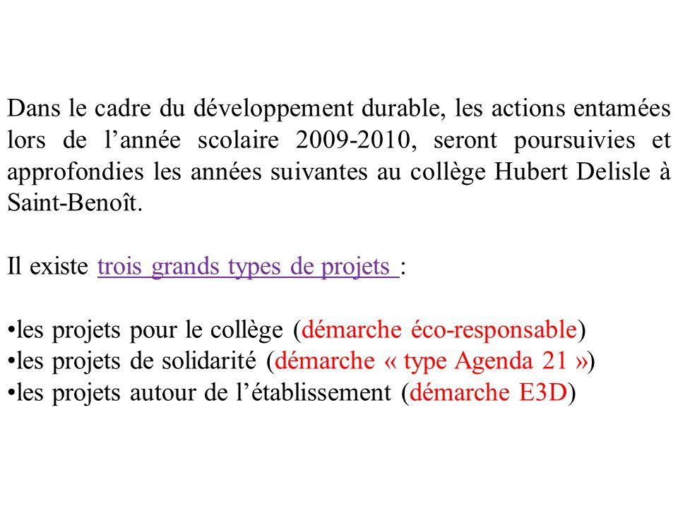 Dans le cadre du développement durable, les actions entamées lors de l'année scolaire 2009-2010, seront poursuivies et approfondies les années suivantes au collège Hubert Delisle à Saint-Benoît.