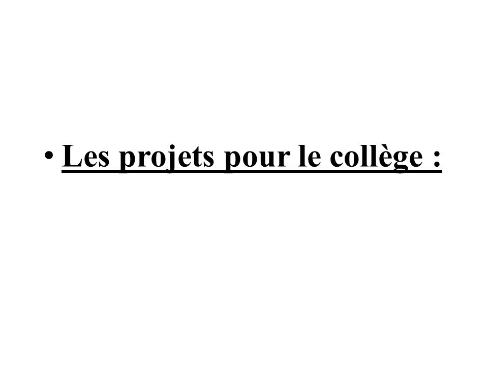 Les projets pour le collège :