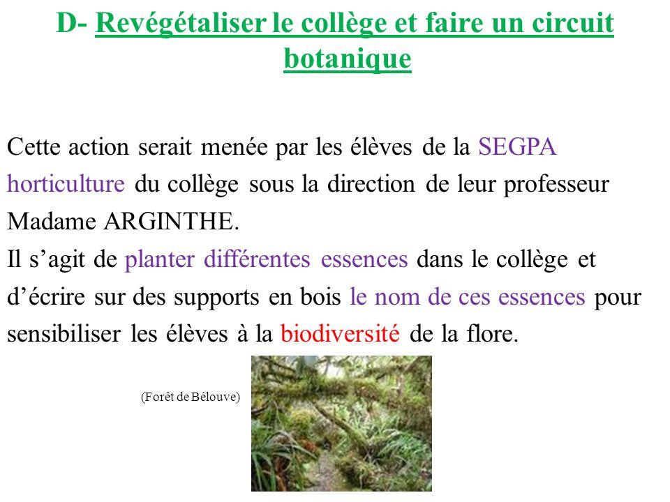D- Revégétaliser le collège et faire un circuit botanique