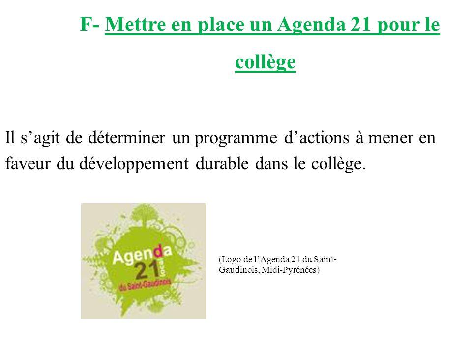 F- Mettre en place un Agenda 21 pour le collège