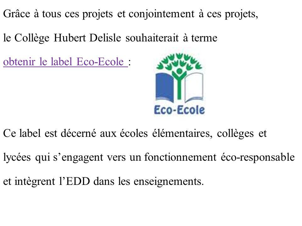 Grâce à tous ces projets et conjointement à ces projets, le Collège Hubert Delisle souhaiterait à terme obtenir le label Eco-Ecole : Ce label est décerné aux écoles élémentaires, collèges et lycées qui s'engagent vers un fonctionnement éco-responsable et intègrent l'EDD dans les enseignements.