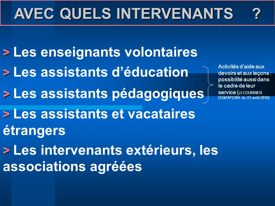 AVEC QUELS INTERVENANTS