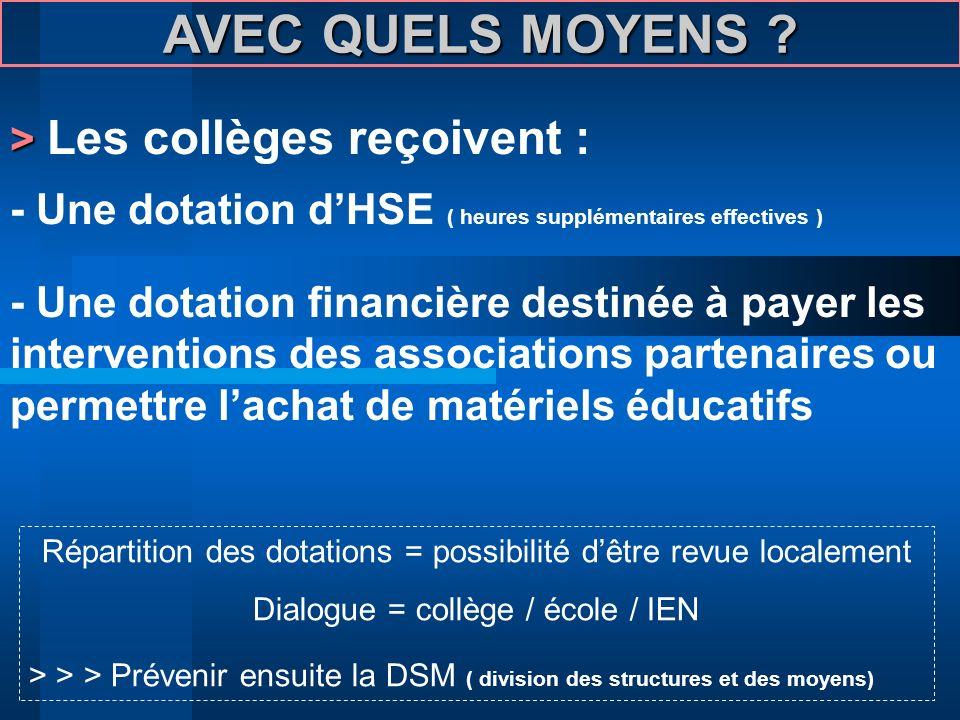 AVEC QUELS MOYENS > Les collèges reçoivent :