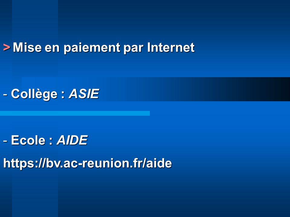 > Mise en paiement par Internet