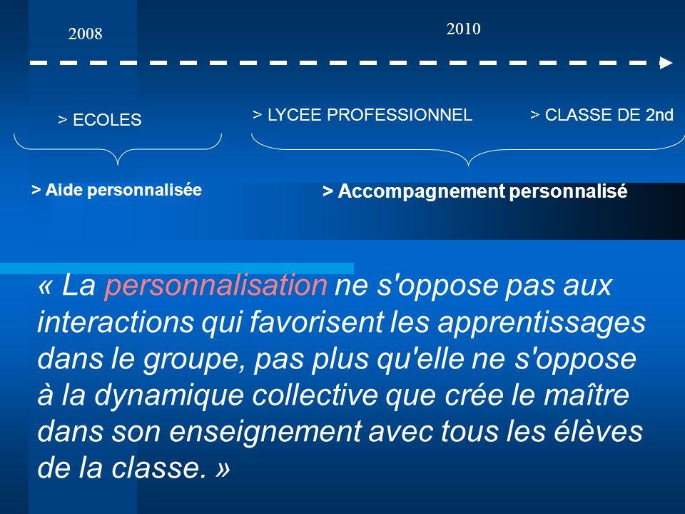 2010 2008. > LYCEE PROFESSIONNEL. > CLASSE DE 2nd. > ECOLES. > Aide personnalisée. > Accompagnement personnalisé.