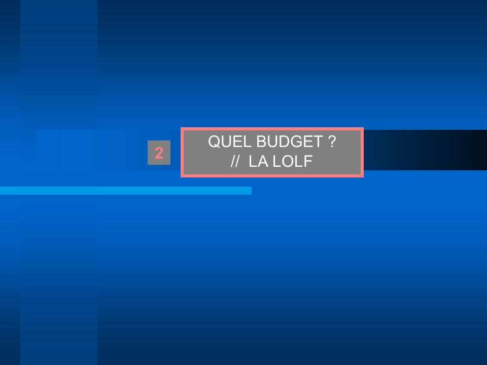 QUEL BUDGET // LA LOLF 2