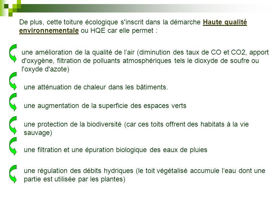 De plus, cette toiture écologique s inscrit dans la démarche Haute qualité environnementale ou HQE car elle permet :