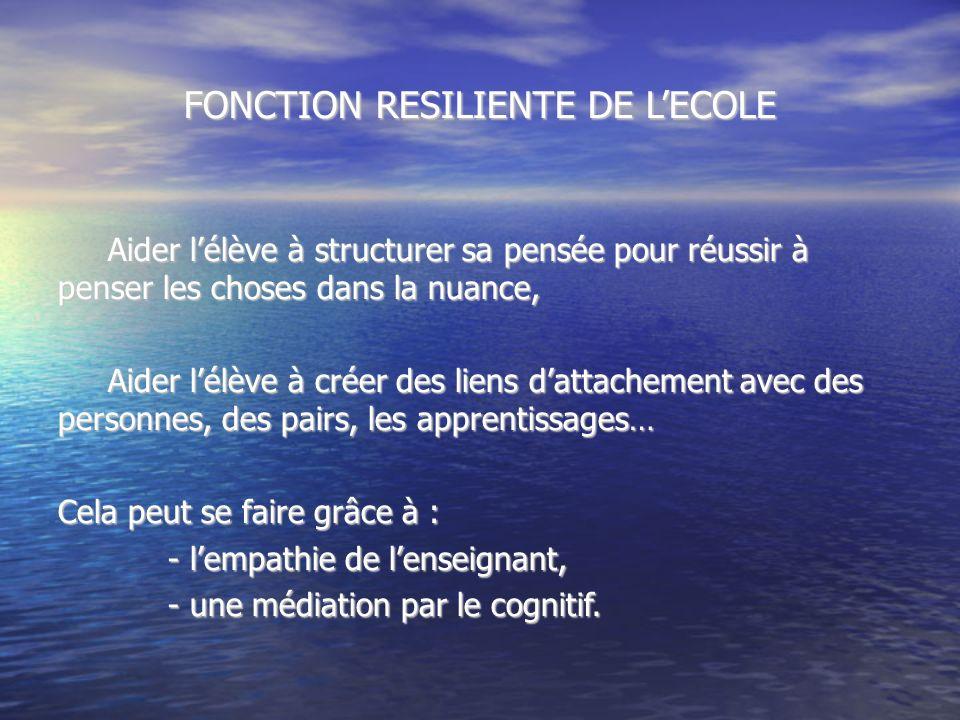FONCTION RESILIENTE DE L'ECOLE